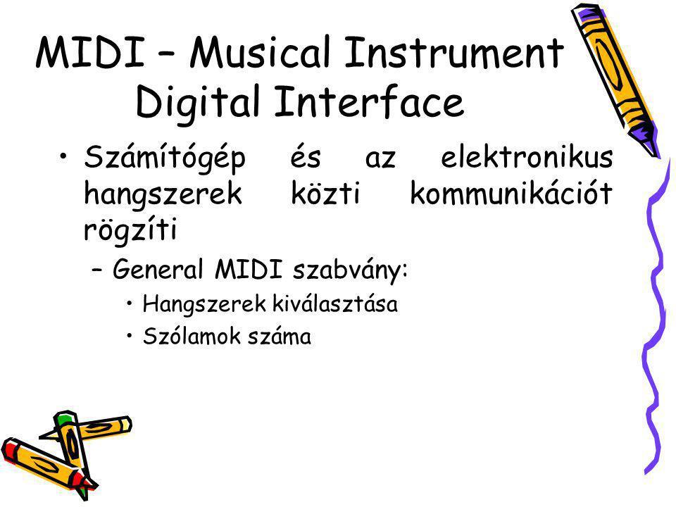 MIDI – Musical Instrument Digital Interface Számítógép és az elektronikus hangszerek közti kommunikációt rögzíti –General MIDI szabvány: Hangszerek ki