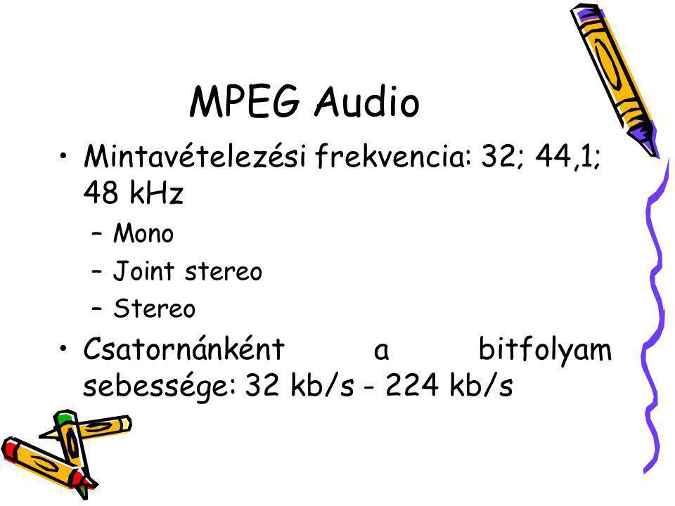 MPEG Audio Mintavételezési frekvencia: 32; 44,1; 48 kHz –Mono –Joint stereo –Stereo Csatornánként a bitfolyam sebessége: 32 kb/s - 224 kb/s
