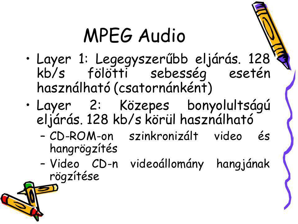 MPEG Audio Layer 1: Legegyszerűbb eljárás. 128 kb/s fölötti sebesség esetén használható (csatornánként) Layer 2: Közepes bonyolultságú eljárás. 128 kb