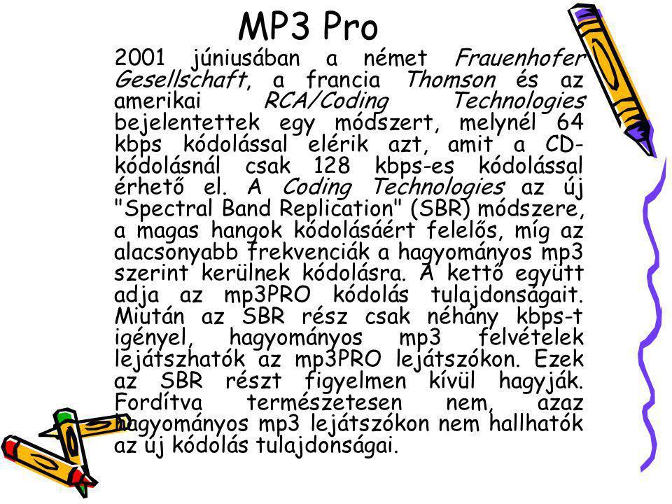 MP3 Pro 2001 júniusában a német Frauenhofer Gesellschaft, a francia Thomson és az amerikai RCA/Coding Technologies bejelentettek egy módszert, melynél