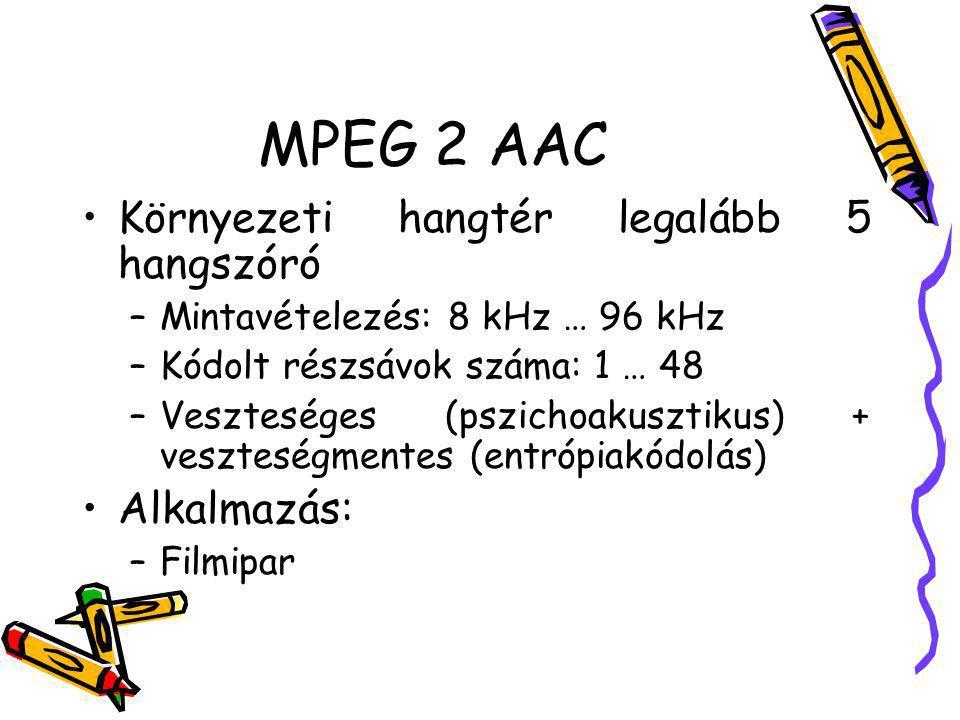 MPEG 2 AAC Környezeti hangtér legalább 5 hangszóró –Mintavételezés: 8 kHz … 96 kHz –Kódolt részsávok száma: 1 … 48 –Veszteséges (pszichoakusztikus) +