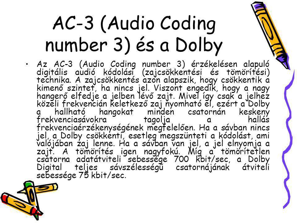 AC-3 (Audio Coding number 3) és a Dolby Az AC-3 (Audio Coding number 3) érzékelésen alapuló digitális audió kódolási (zajcsökkentési és tömörítési) te