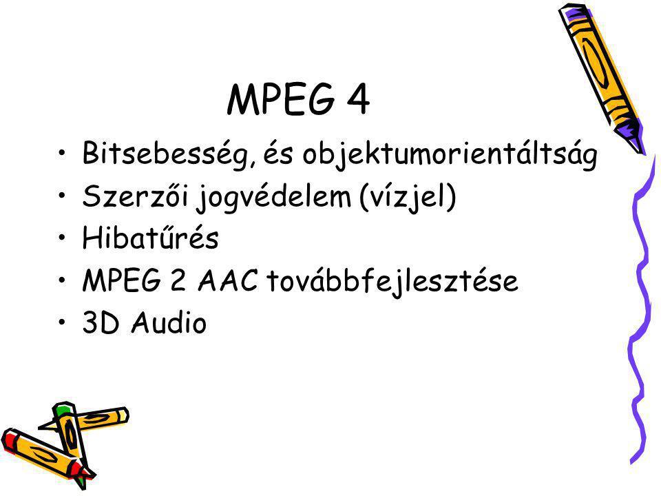 MPEG 4 Bitsebesség, és objektumorientáltság Szerzői jogvédelem (vízjel) Hibatűrés MPEG 2 AAC továbbfejlesztése 3D Audio