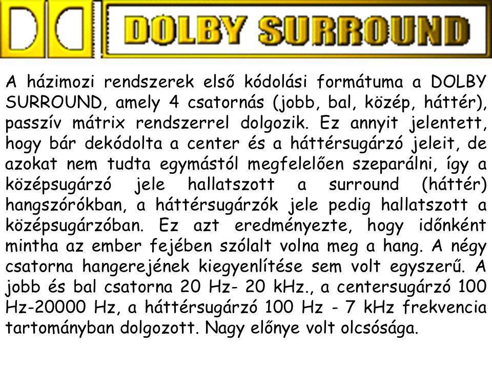 A házimozi rendszerek első kódolási formátuma a DOLBY SURROUND, amely 4 csatornás (jobb, bal, közép, háttér), passzív mátrix rendszerrel dolgozik. Ez