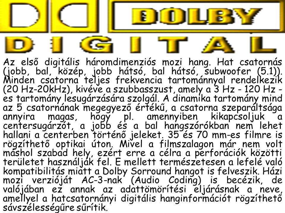 Az első digitális háromdimenziós mozi hang. Hat csatornás (jobb, bal, közép, jobb hátsó, bal hátsó, subwoofer (5.1)). Minden csatorna teljes frekvenci