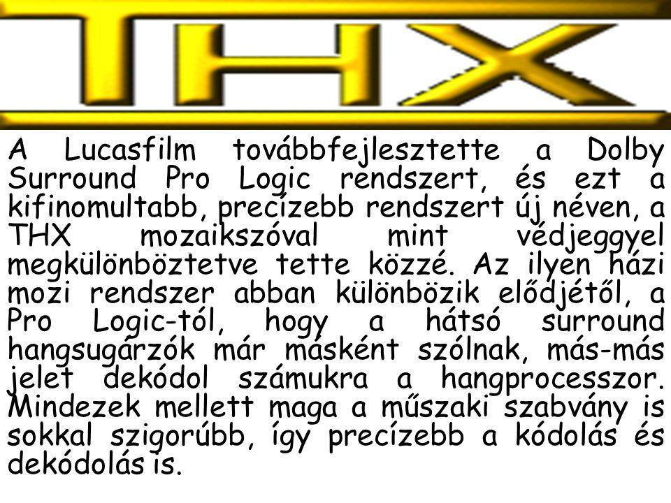 A Lucasfilm továbbfejlesztette a Dolby Surround Pro Logic rendszert, és ezt a kifinomultabb, precízebb rendszert új néven, a THX mozaikszóval mint véd