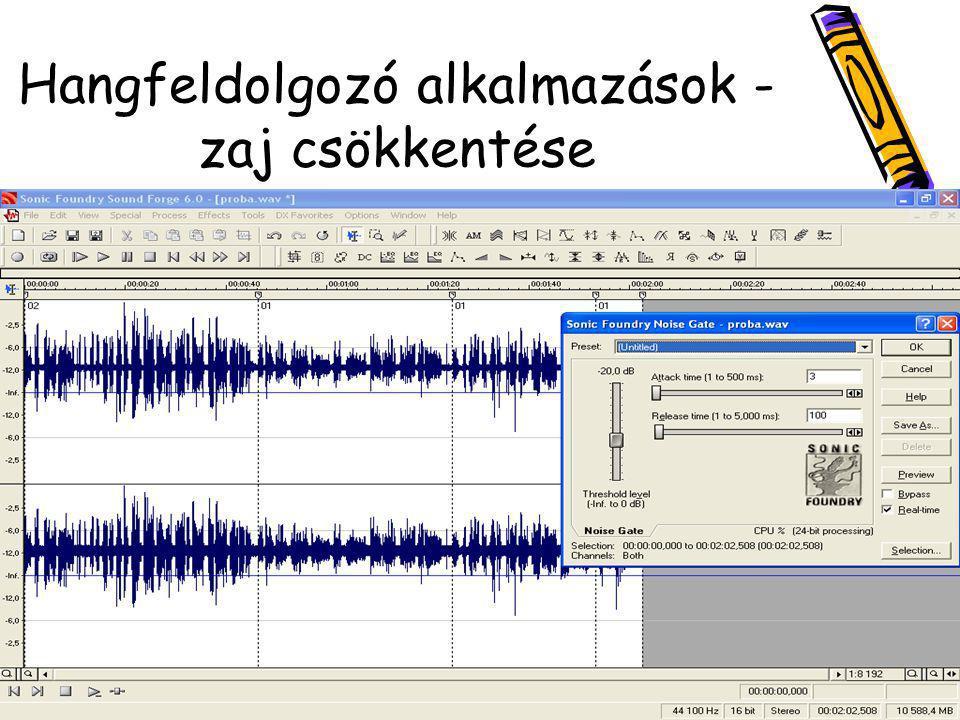 Hangfeldolgozó alkalmazások - zaj csökkentése