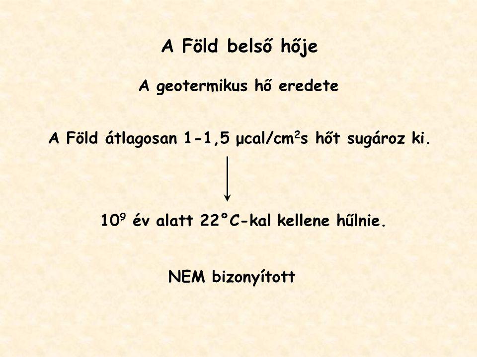 A Föld belső hője A geotermikus hő eredete A Föld átlagosan 1-1,5 μcal/cm 2 s hőt sugároz ki.