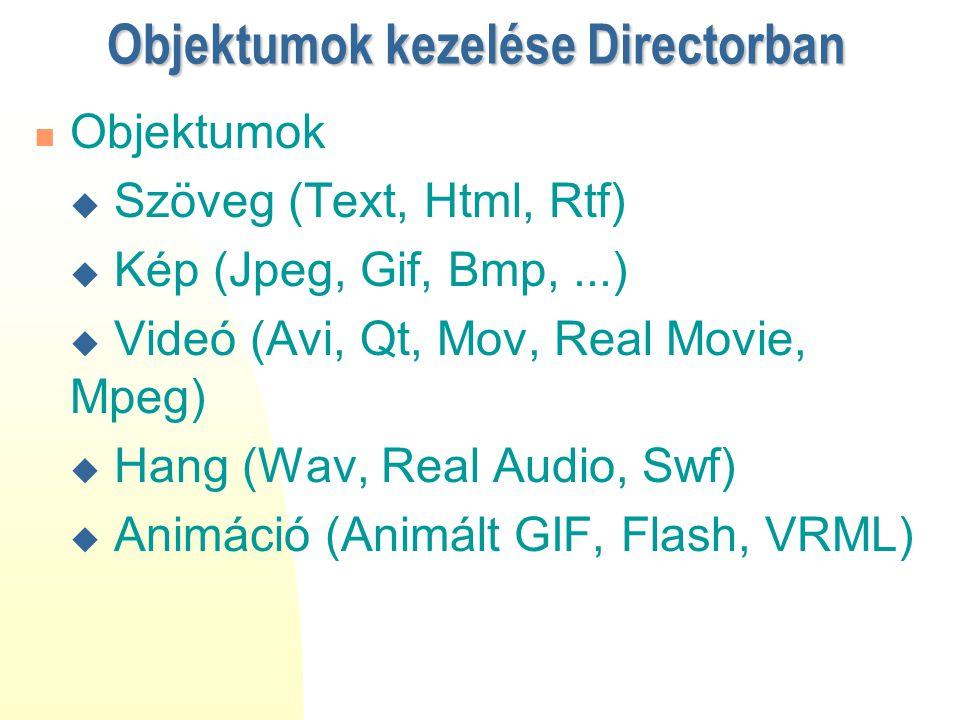 Objektumok kezelése Directorban Objektumok  Szöveg (Text, Html, Rtf)  Kép (Jpeg, Gif, Bmp,...)  Videó (Avi, Qt, Mov, Real Movie, Mpeg)  Hang (Wav,