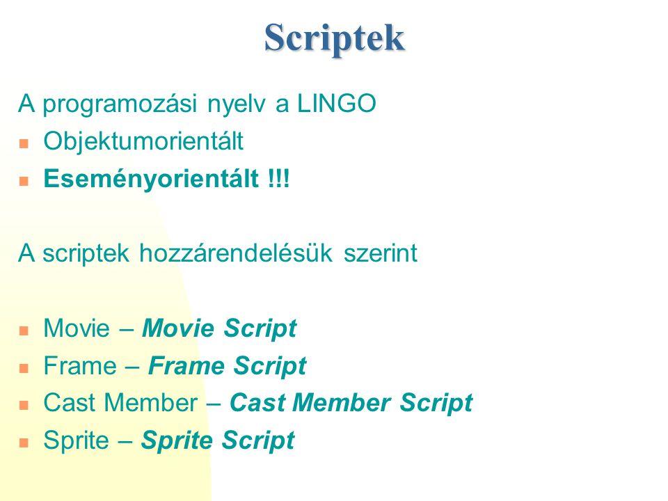 Scriptek A programozási nyelv a LINGO Objektumorientált Eseményorientált !!! A scriptek hozzárendelésük szerint Movie – Movie Script Frame – Frame Scr