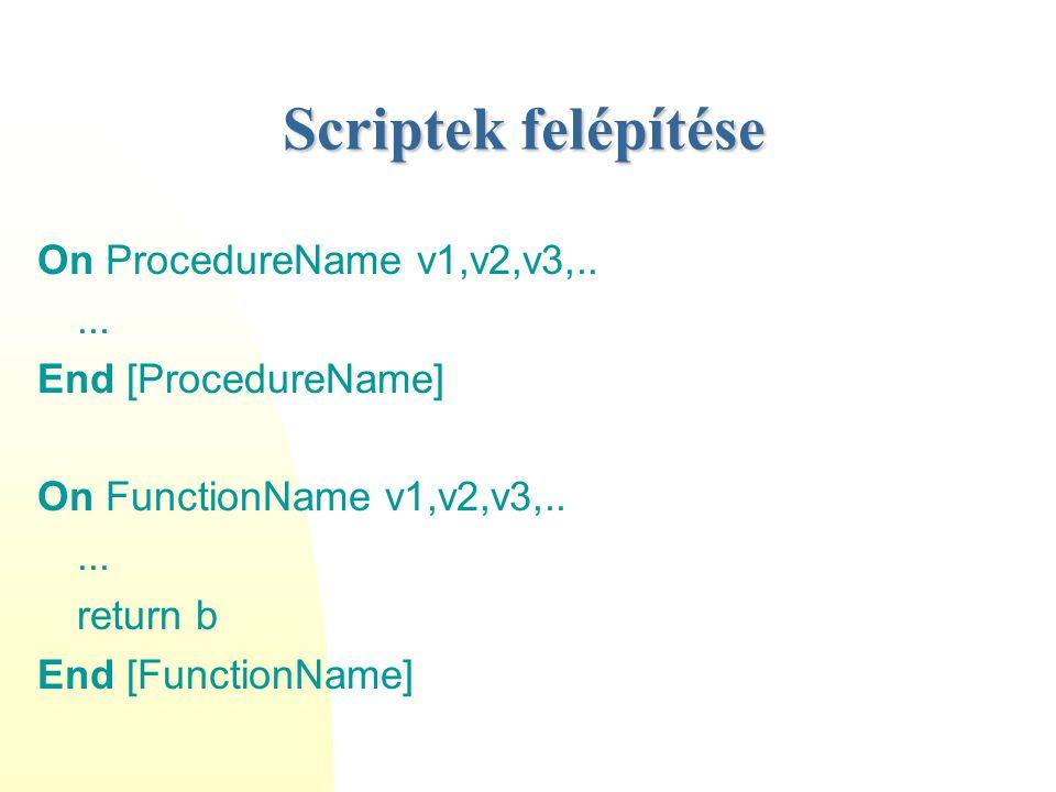 Scriptek felépítése On ProcedureName v1,v2,v3,..... End [ProcedureName] On FunctionName v1,v2,v3,..... return b End [FunctionName]