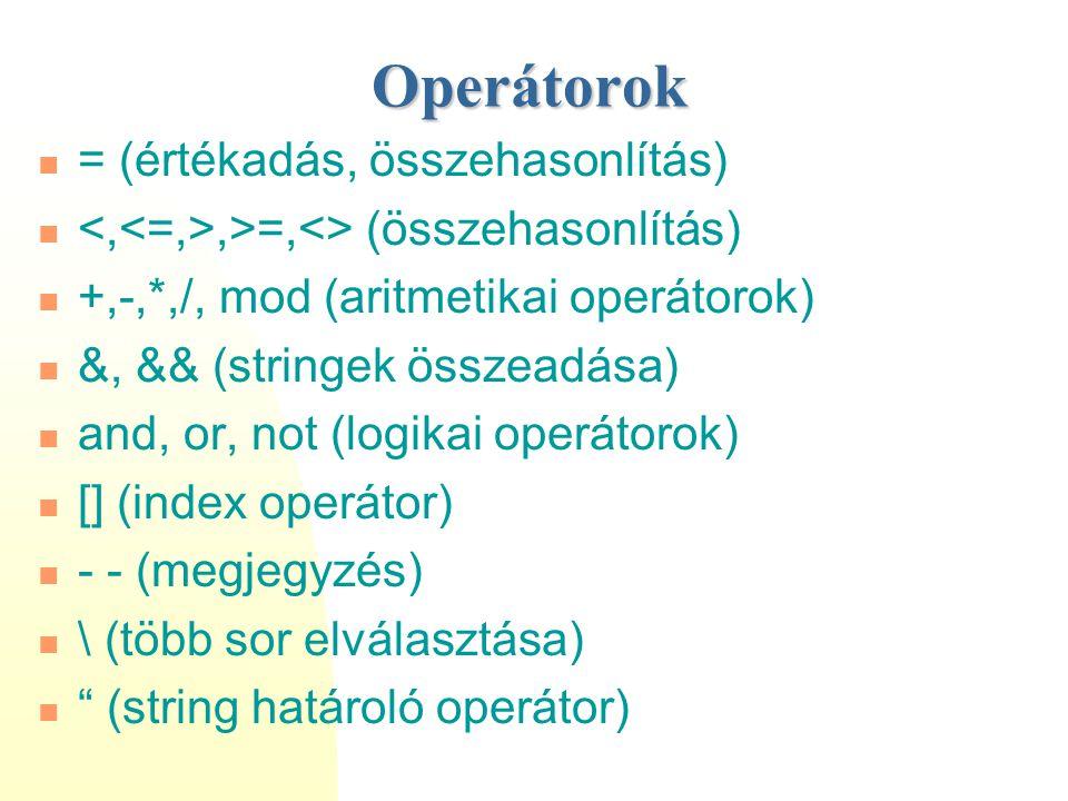 Operátorok = (értékadás, összehasonlítás),>=,<> (összehasonlítás) +,-,*,/, mod (aritmetikai operátorok) &, && (stringek összeadása) and, or, not (logi