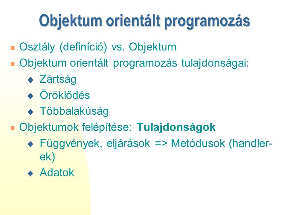 Objektum orientált programozás Osztály (definíció) vs. Objektum Objektum orientált programozás tulajdonságai:  Zártság  Öröklődés  Többalakúság Obj