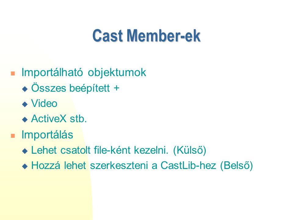 Cast Member-ek Importálható objektumok  Összes beépített +  Video  ActiveX stb. Importálás  Lehet csatolt file-ként kezelni. (Külső)  Hozzá lehet