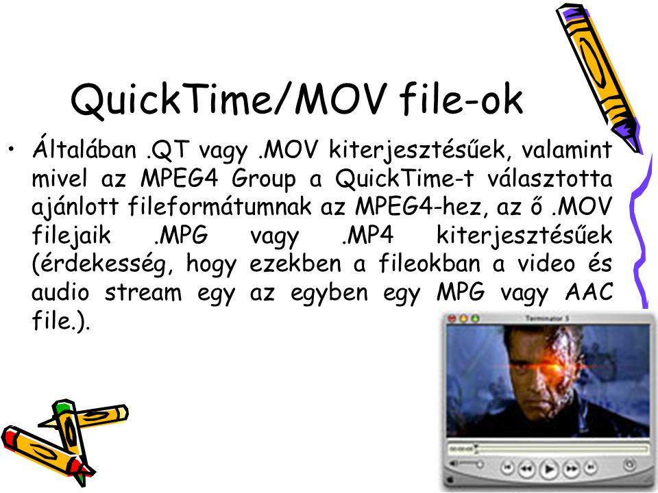 QuickTime/MOV file-ok Általában.QT vagy.MOV kiterjesztésűek, valamint mivel az MPEG4 Group a QuickTime-t választotta ajánlott fileformátumnak az MPEG4-hez, az ő.MOV filejaik.MPG vagy.MP4 kiterjesztésűek (érdekesség, hogy ezekben a fileokban a video és audio stream egy az egyben egy MPG vagy AAC file.).
