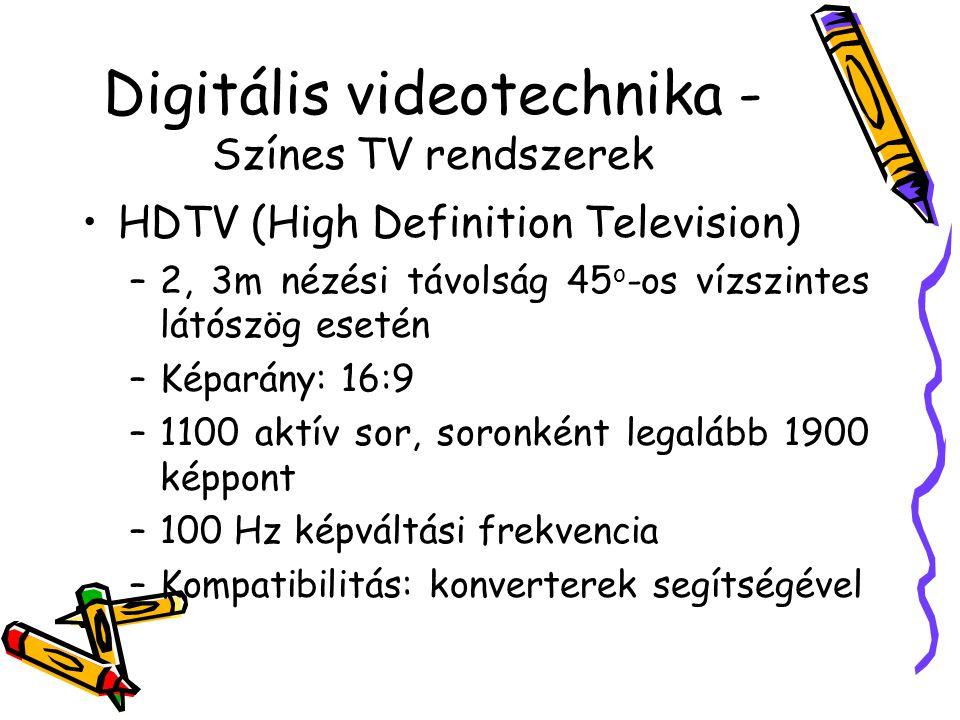 Videoállományok tömörítése – MPEG-szabványok (MPEG 2) Átviteli sebesség max 40 Gbit/s Max képpont 16 000 x 16 000 Rövid képcsoportok -> Előnyös a szerkesztéshez