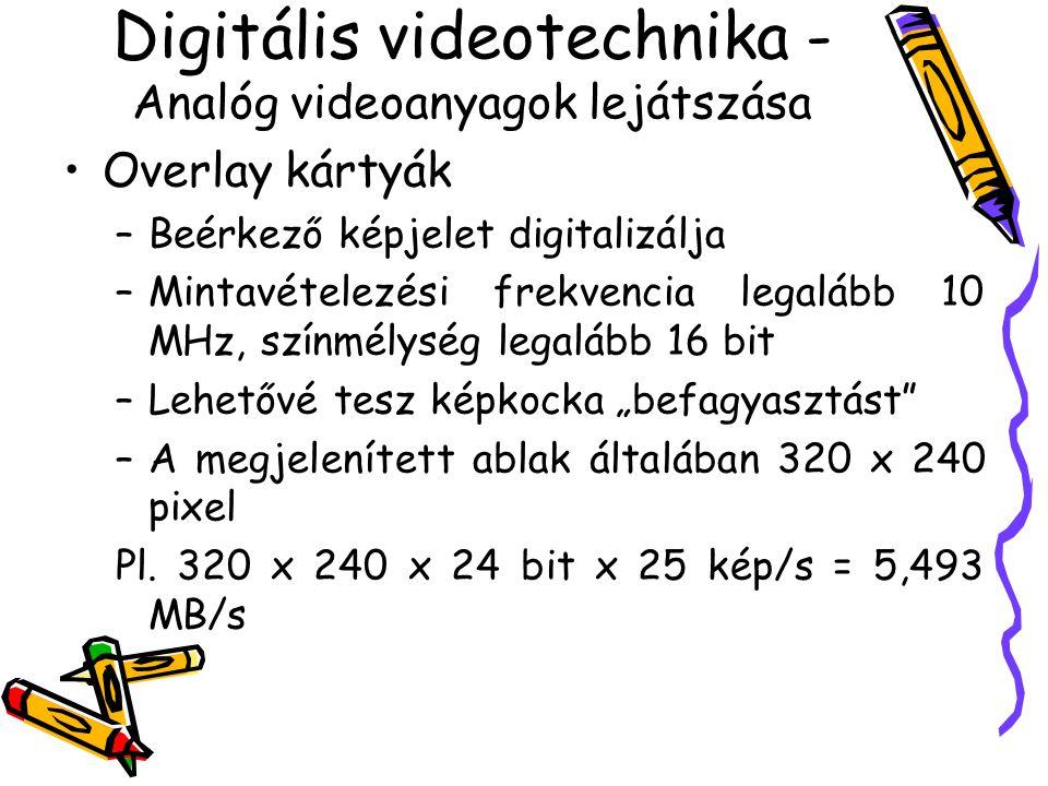 Videojelek digitalizálása Mintavételezett képkocka Analóg videojel Kétdimenziós képfüggvény Digitális képkocka Leképzés Mintavételezés Kvantálás