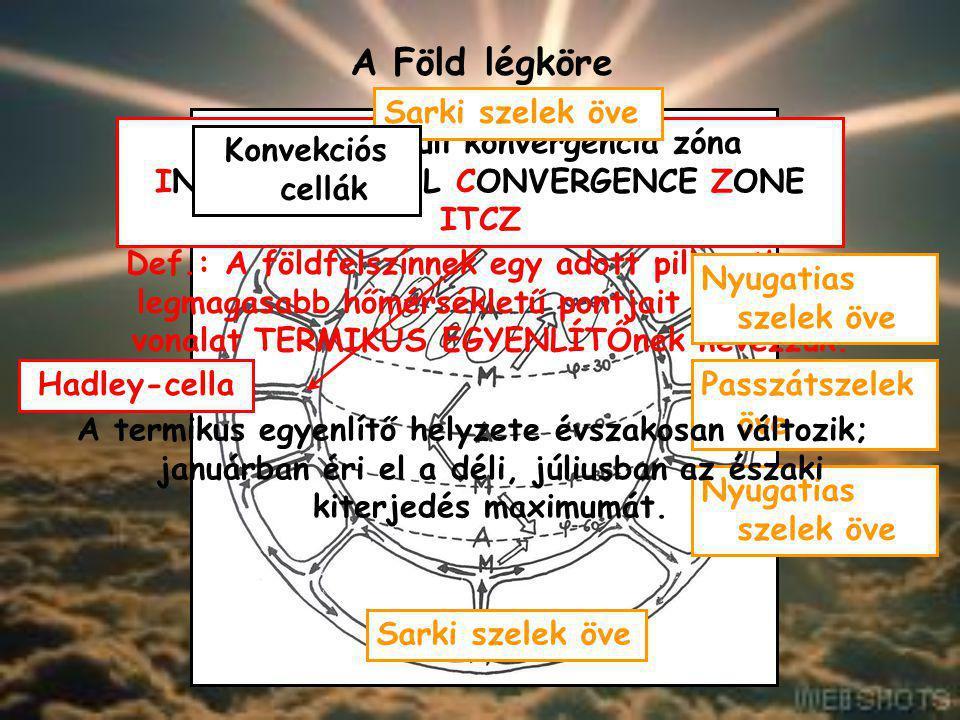 A Föld légköre A légkör áramlási rendszerei A légköri áramlásokat a 1)légnyomás felszíni eloszlása; 2)Coriolis-erő; 3)felszínnel való súrlódás szabály