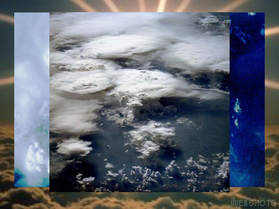 A Föld légköre A felhőzet és csapadék A felhők képződése: 1)A levegő felmelegszik; 2)lecsökken a sűrűsége; 3)felemelkedik; 4)lehűl; 5)A vízgőz kondenz
