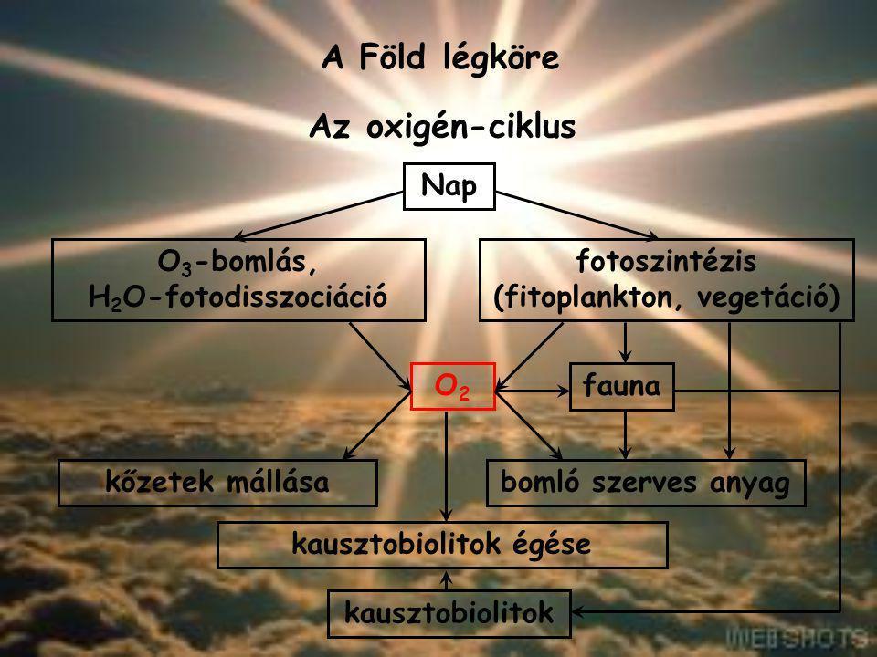 Az oxigén-ciklus A Föld légköre O2O2 fotoszintézis (fitoplankton, vegetáció) O 3 -bomlás, H 2 O-fotodisszociáció Nap fauna bomló szerves anyagkőzetek
