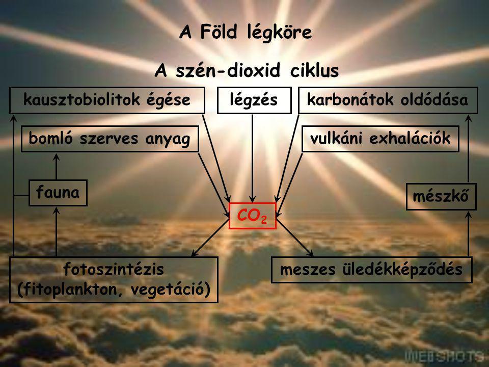 A Föld légköre A felhőzet és csapadék A felhők képződése: 1)A levegő felmelegszik; 2)lecsökken a sűrűsége; 3)felemelkedik; 4)lehűl; 5)A vízgőz kondenzálódik az aeroszol részecskéken.