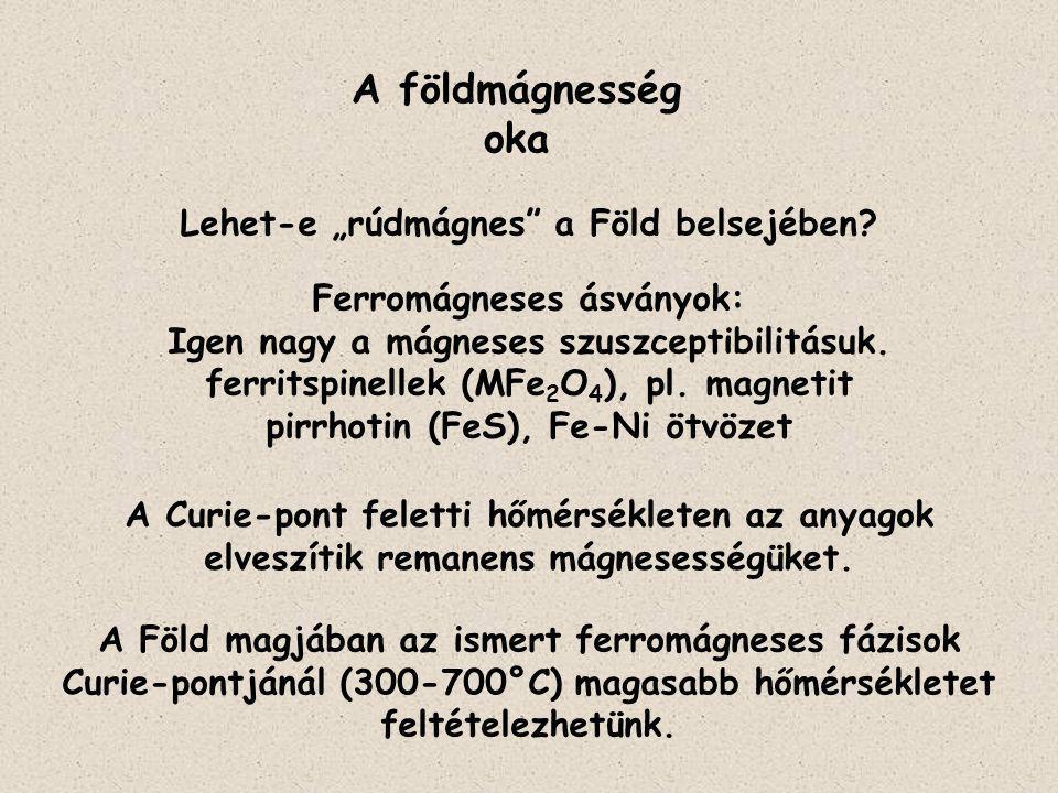"""A földmágnesség oka Lehet-e """"rúdmágnes"""" a Föld belsejében? A Curie-pont feletti hőmérsékleten az anyagok elveszítik remanens mágnesességüket. Ferromág"""