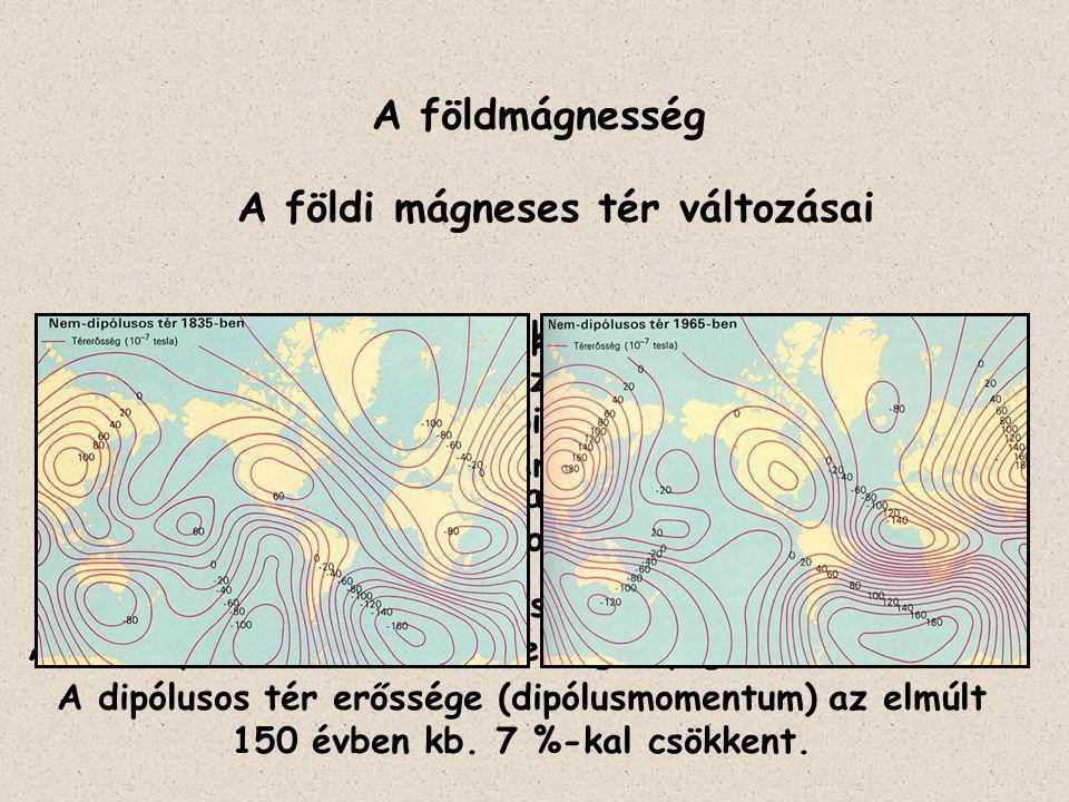 A földmágnesség A földi mágneses tér változásai Dipólmomentum csökkenése ~ 4,2 x 10 22 Γcm 3 /év. A non-dipól tér 0,2°/év sebességű nyugat elmozdulása