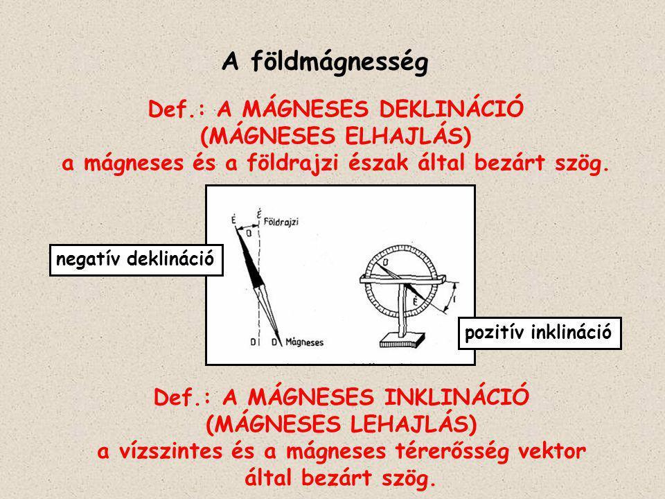 Def.: A MÁGNESES DEKLINÁCIÓ (MÁGNESES ELHAJLÁS) a mágneses és a földrajzi észak által bezárt szög. A földmágnesség Def.: A MÁGNESES INKLINÁCIÓ (MÁGNES