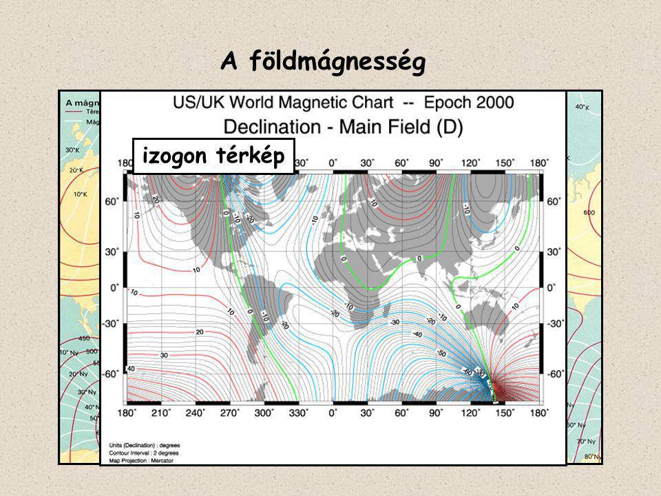 1.A Föld forgástengelyével kb. 11,5°-ot bezáró dipólus (rúdmágnes) adja a térerő kb.