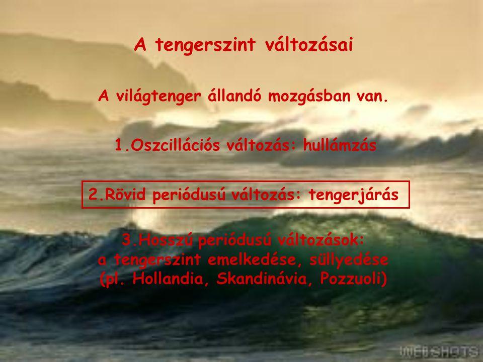 A tengerszint változásai A tengerjárás Def.: A világtenger szintjének 1.a Hold és a Nap gravitációs vonzása és 2.a centrifugális erő hatására bekövetkező periodikus ingadozását TENGERJÁRÁSnak, vagy ÁRAPÁLYnak nevezzük.