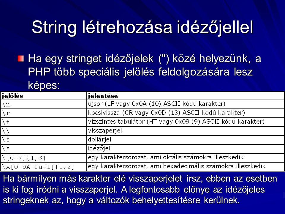 String létrehozása idézőjellel Ha egy stringet idézőjelek (
