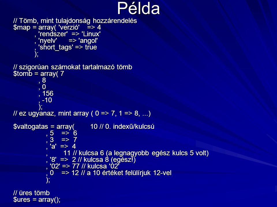 Példa // Tömb, mint tulajdonság hozzárendelés $map = array( 'verzió' => 4, 'rendszer' => 'Linux', 'nyelv' => 'angol', 'short_tags' => true ); // szigo