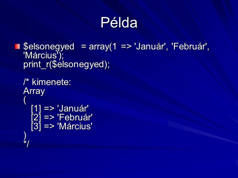 Példa $elsonegyed = array(1 => 'Január', 'Február', 'Március'); print_r($elsonegyed); /* kimenete: Array ( [1] => 'Január' [2] => 'Február' [3] => 'Má