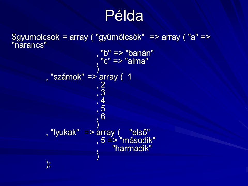 Példa $gyumolcsok = array (