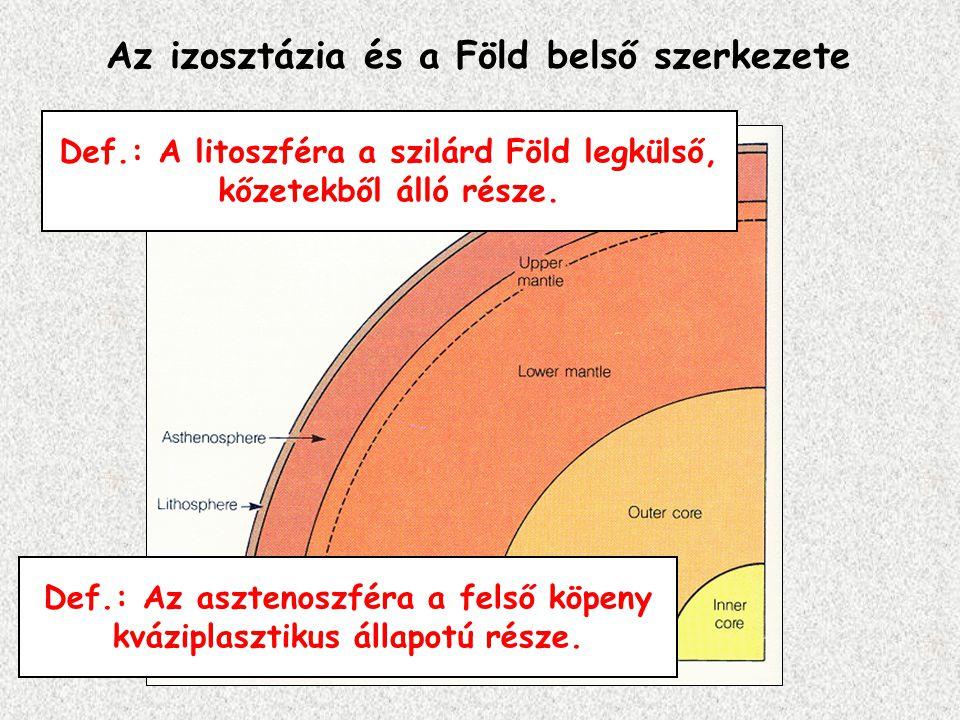 Def.: A litoszféra a szilárd Föld legkülső, kőzetekből álló része. Az izosztázia és a Föld belső szerkezete Def.: Az asztenoszféra a felső köpeny kváz