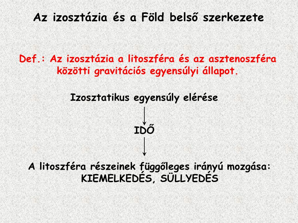 Az izosztázia és a Föld belső szerkezete Def.: Az izosztázia a litoszféra és az asztenoszféra közötti gravitációs egyensúlyi állapot. Izosztatikus egy
