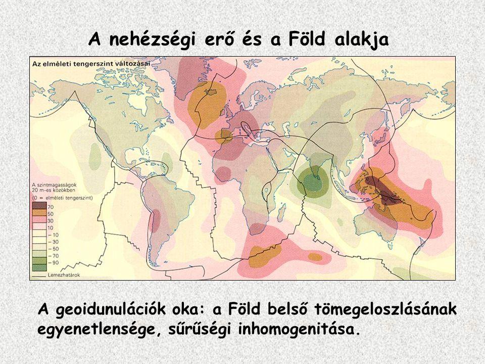 A nehézségi erő és a Föld alakja A geoidunulációk oka: a Föld belső tömegeloszlásának egyenetlensége, sűrűségi inhomogenitása.