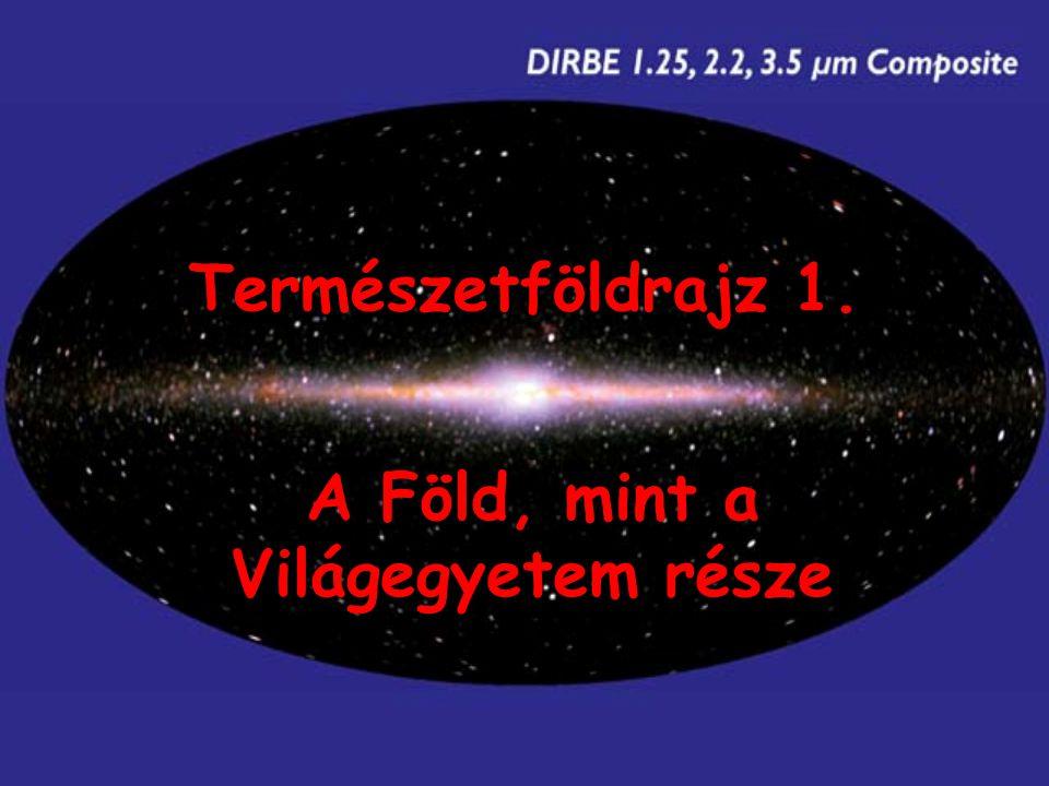 Az Univerzum kialakulása - Nagy Bumm (15 mrd év), szubatomi részecskék - tágulás, lehűlés - <10 9 K: első elemek (H, He, Li), magfúzió (H-He égés) - csillagok (sűrűségi instabilitások, gravitáció, stabil magfúzió (10 7 -10 8 K), nehezebb elemek keletkezése, részecske és energia termelés) - csillagrendszerek (galaxisok)
