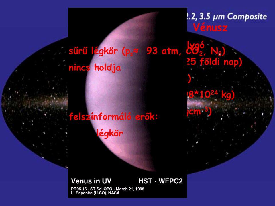 A belső Naprendszer - Vénusz a Naptól számított 2. bolygó gyors keringés (1 év ≈ 225 földi nap) r: 6052 km (r F : 6378 km) m: 4,87*10 24 kg (m F : 5,9
