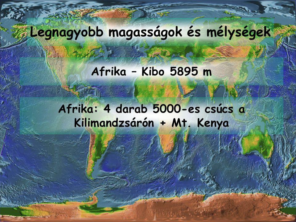 Legnagyobb magasságok és mélységek Afrika – Kibo 5895 m Afrika: 4 darab 5000-es csúcs a Kilimandzsárón + Mt. Kenya