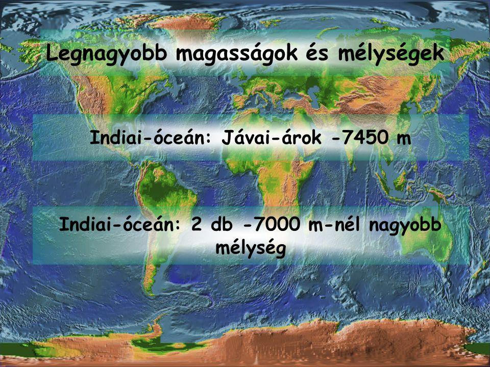 Legnagyobb magasságok és mélységek Indiai-óceán: Jávai-árok -7450 m Indiai-óceán: 2 db -7000 m-nél nagyobb mélység