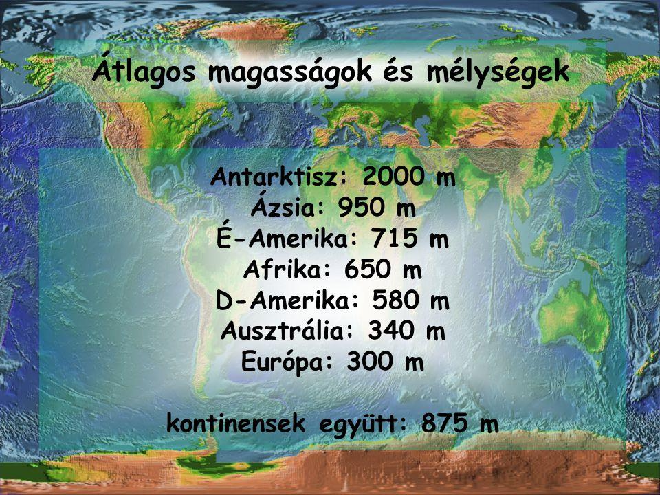 Átlagos magasságok és mélységek Antarktisz: 2000 m Ázsia: 950 m É-Amerika: 715 m Afrika: 650 m D-Amerika: 580 m Ausztrália: 340 m Európa: 300 m kontin