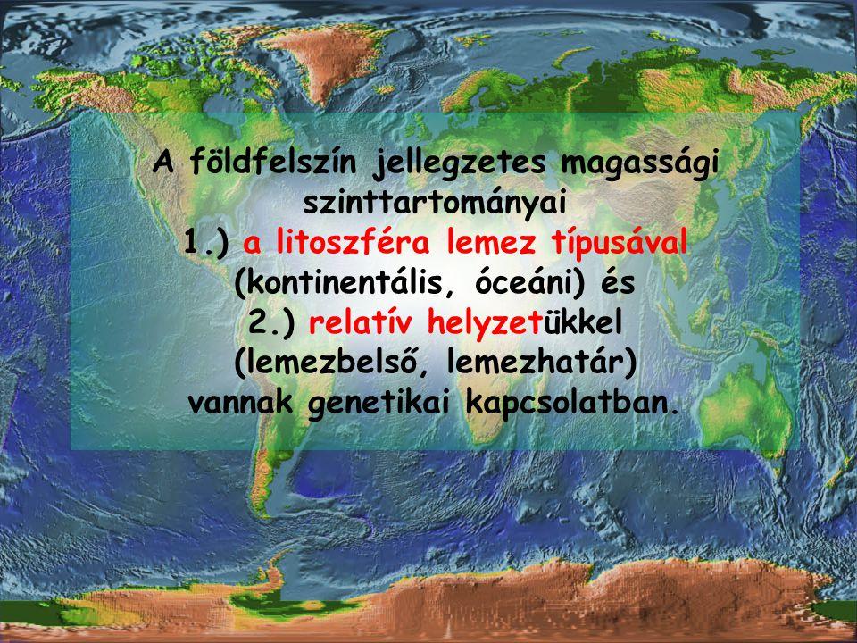 A földfelszín jellegzetes magassági szinttartományai 1.) a litoszféra lemez típusával (kontinentális, óceáni) és 2.) relatív helyzetükkel (lemezbelső,