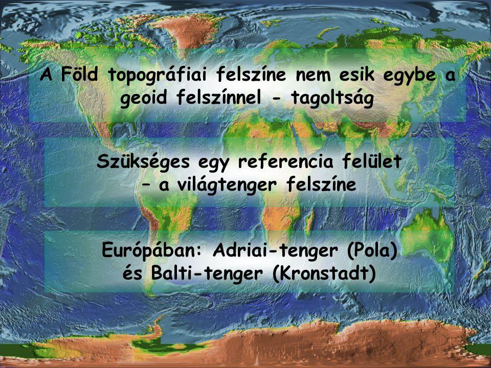 A Föld topográfiai felszíne nem esik egybe a geoid felszínnel - tagoltság Szükséges egy referencia felület – a világtenger felszíne Európában: Adriai-