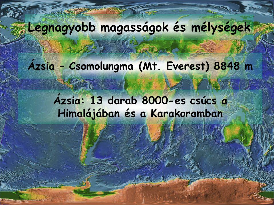 Legnagyobb magasságok és mélységek Ázsia – Csomolungma (Mt. Everest) 8848 m Ázsia: 13 darab 8000-es csúcs a Himalájában és a Karakoramban