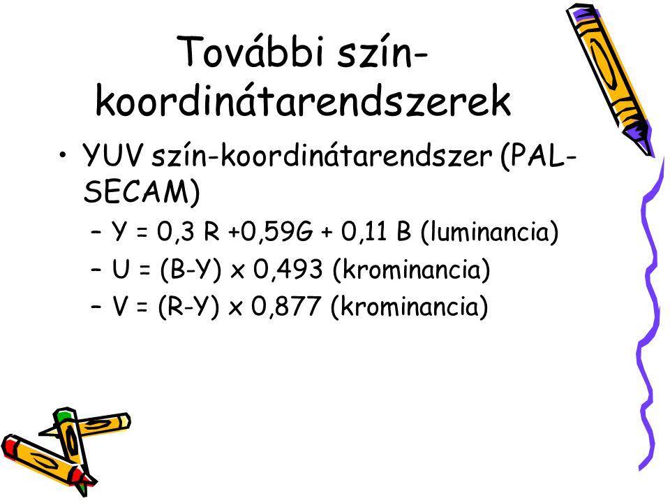 További szín- koordinátarendszerek YUV szín-koordinátarendszer (PAL- SECAM) –Y = 0,3 R +0,59G + 0,11 B (luminancia) –U = (B-Y) x 0,493 (krominancia) –V = (R-Y) x 0,877 (krominancia)