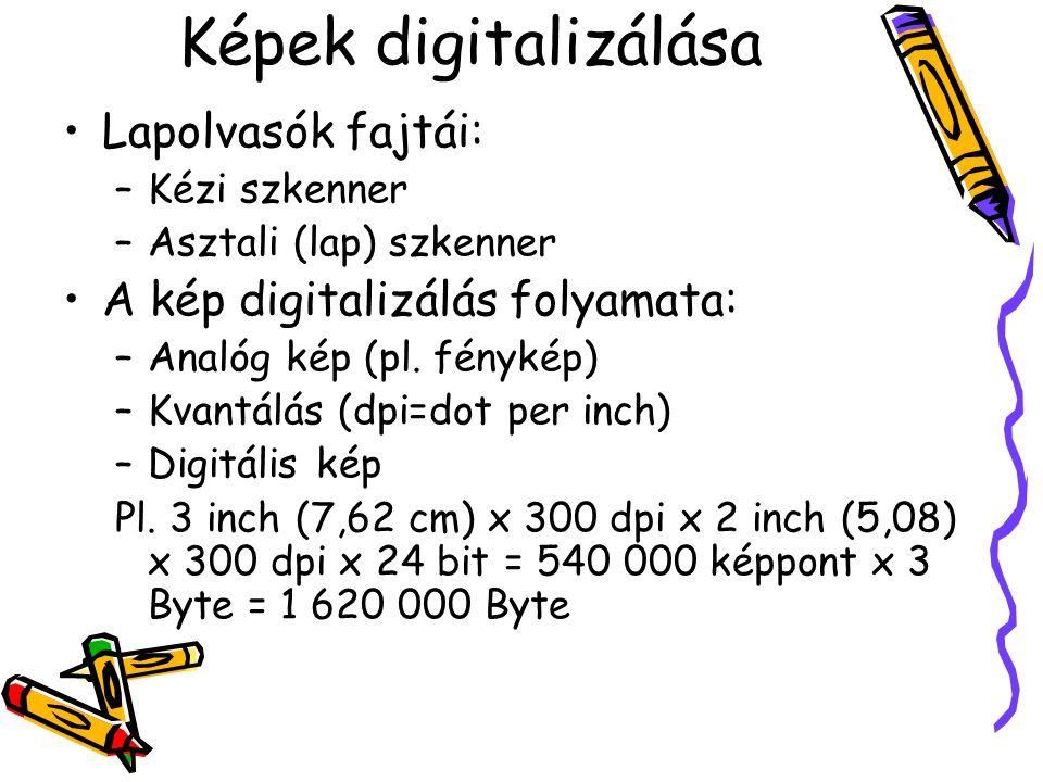 Képek digitalizálása Lapolvasók fajtái: –Kézi szkenner –Asztali (lap) szkenner A kép digitalizálás folyamata: –Analóg kép (pl.