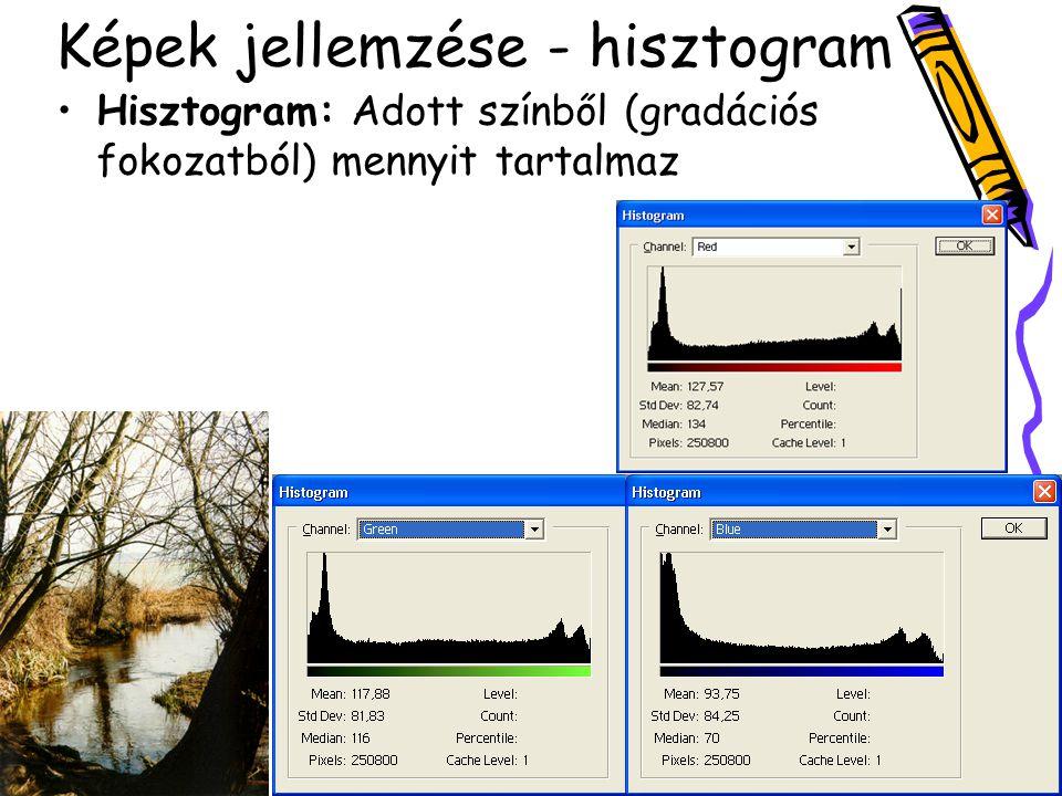 Képek jellemzése - hisztogram Hisztogram: Adott színből (gradációs fokozatból) mennyit tartalmaz