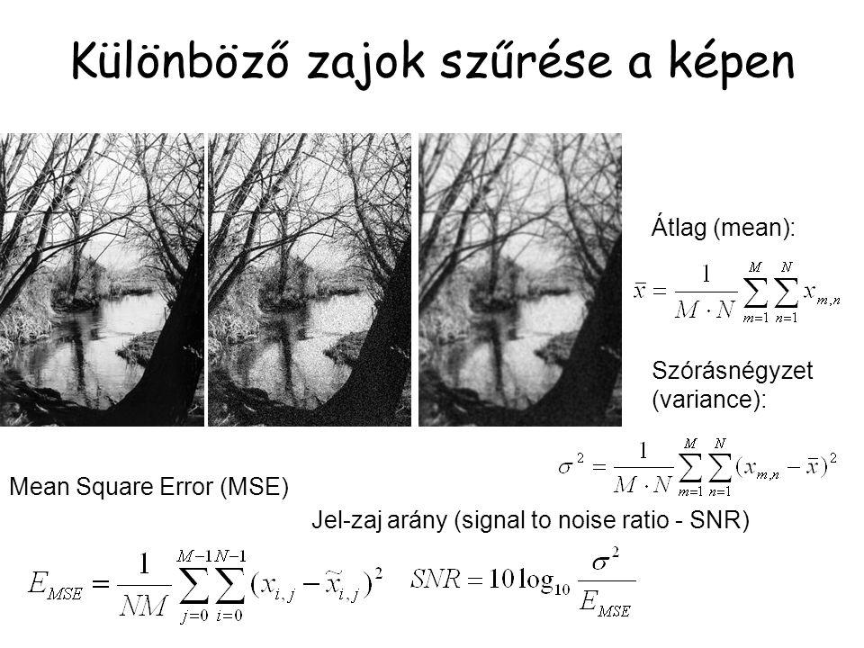 Különböző zajok szűrése a képen Mean Square Error (MSE) Jel-zaj arány (signal to noise ratio - SNR) Szórásnégyzet (variance): Átlag (mean):