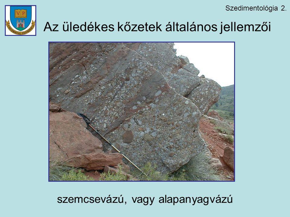 Szedimentológia 2. Az üledékes kőzetek általános jellemzői szemcsevázú, vagy alapanyagvázú